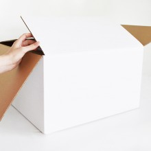 Practical cardboard box in generous size for storing, transporting or shipping objects or documents