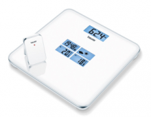 Well-designed scale with weather forecast, time and temperature information