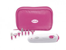 Manicure and pedicure device with high quality bits for taking care of natural nails and for callus removal.