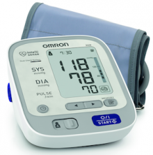 The compact blood pressure monitor upper arm Omron M6W is comfortable to use and has a very large display. The winner at 'Kassensturz' test in April 2013.
