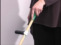 You attach the T-grip on the rod of your broom. Due to the handgrip which is horizontal, your wrist will stay in a straight, anatomic position.