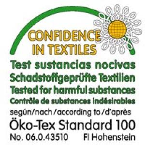 The textiles used for this device meet the stringent human ecological requirements of Oeko-Tex Standard 100